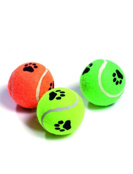 Hračka pes Míč tenisový pískací s tlapkou 6cm KAR 3ks