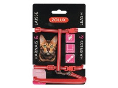 obrázek Postroj kočka s vodítkem 1,2m červený Zolux