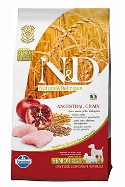 N&D Low Grain DOG Senior S/M Chicken & Pomegr 800g